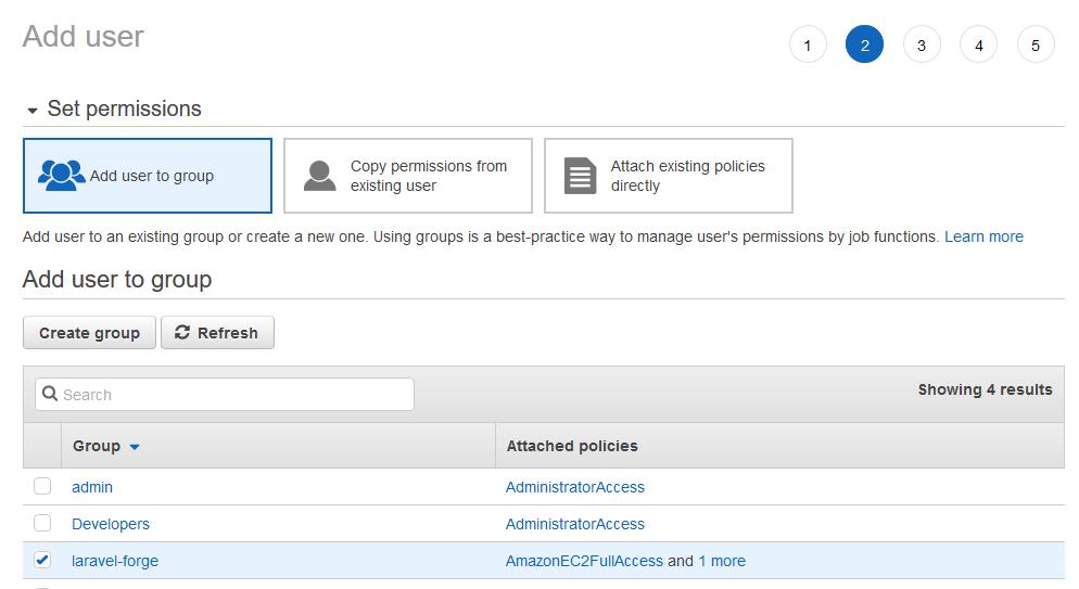 AWS set permissions