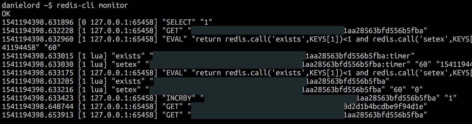 Example output from redis-cli monitor command